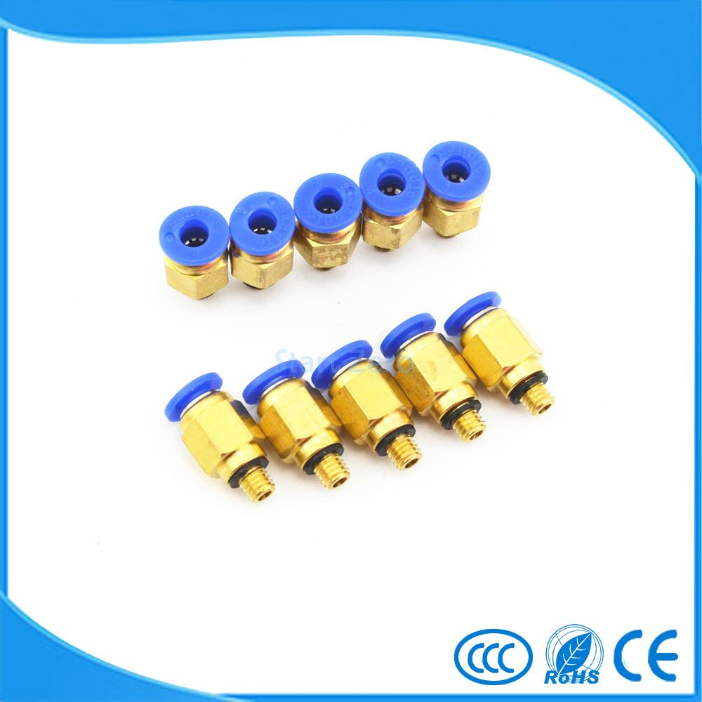 6mm Tube X M5 Thread Quick Connector Pneumatic Air Fittings 10Pcs PC6-M5 air pneumatic connector 6mm od hose tube push in m5 1 8 1 4pt 3 8 1 2 bspt male thread l shape gas quick joint fittings