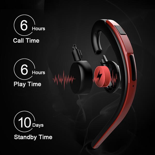 MISR SW26 Single Ear Hook Bluetooth Earphone Headphone Handsfree Mic Microphone for Phone Car Driver Wireless Business Headset