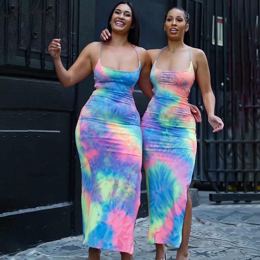 Macheda Женское летнее облегающее разноцветное длинное платье с перекрестными бретелями с открытой спиной с разрезами по бокам