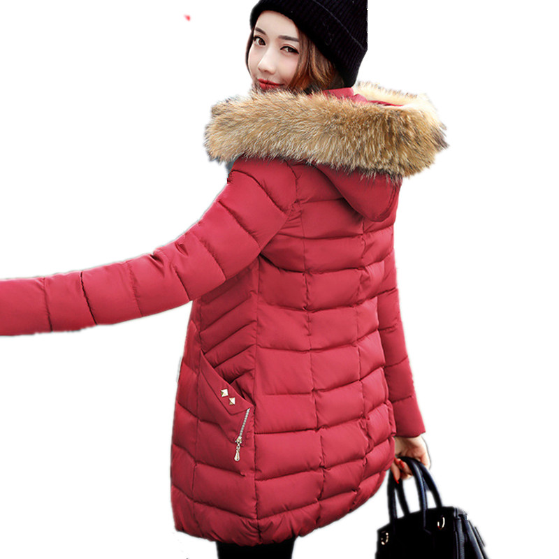 Winter Large Fur Collar Plus Size Padded Parka Overcoat Female Hooded Cotton Jacket Women Warm Snow Wear Chaqueta Mujer TT3110 rainbo brand free shipping wall power socket new outlet france standard crystal glass panel ac110 250v 16a wall socket a18fw b