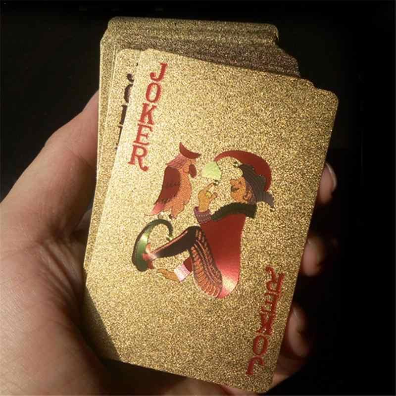 Развлекать золотые игральные карты колода золотой фольги Набор для игры в покер волшебные карты 24 К золото пластиковые фольги Pokers прочные водостойкие карты