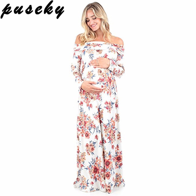 0f7d35f193 Puseky Bohemian Floral Maternity Dress Photography Props Maternity Maxi  Pregnancy Photo Shoot Pregnant Clothes Wedding Dress
