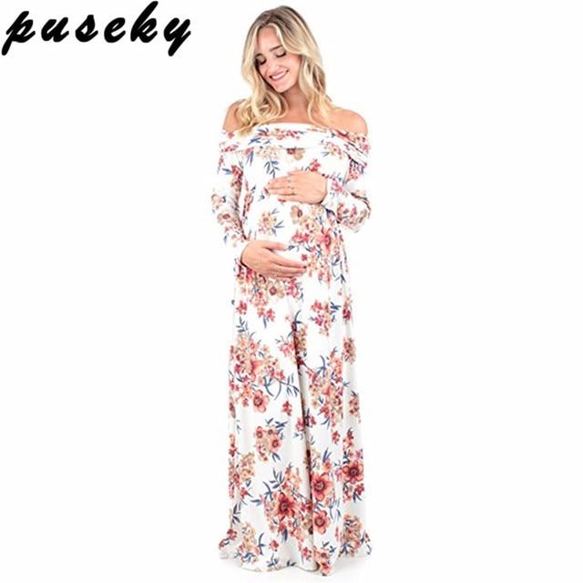 Puseky Boho Floral Print Maternity Dress Photography Props Maternity ...