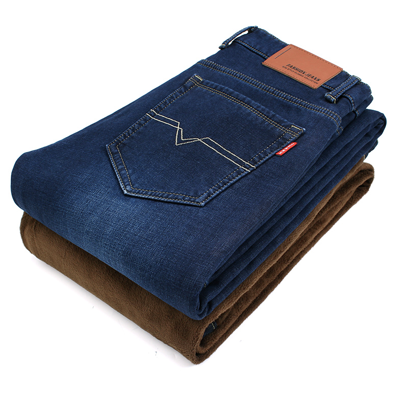 2017 Winter Mens Stretch Jeans Warm Fleece Flannel Lined Quality Denim Jean Pants Size 28-40 Brand Black Blue Jeans for Mens 2017 mens winter stretch thicken jeans warm fleece high quality denim biker jean pants brand thick trousers for man size 28 40