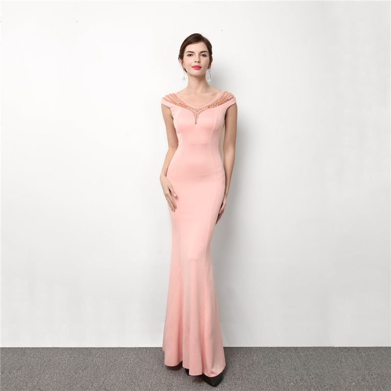 Pink Cotton & Mesh Gemstone Beads O Neck Sleeveless Backless Mermaid Elegant Sexy Women Dresses Evening Party Long Club Dress
