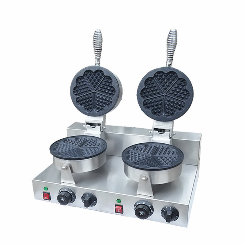 220V/110V Double headed heart shaped waffle machine heart - shaped Wo Fu cake waffle machine factory brown pear shaped flask capacity 150ml joint 19 26 brown heart shaped flasks brown coarse heart shaped ground bottles