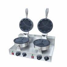220V/110V Double headed heart shaped waffle machine heart — shaped Wo Fu cake waffle machine factory