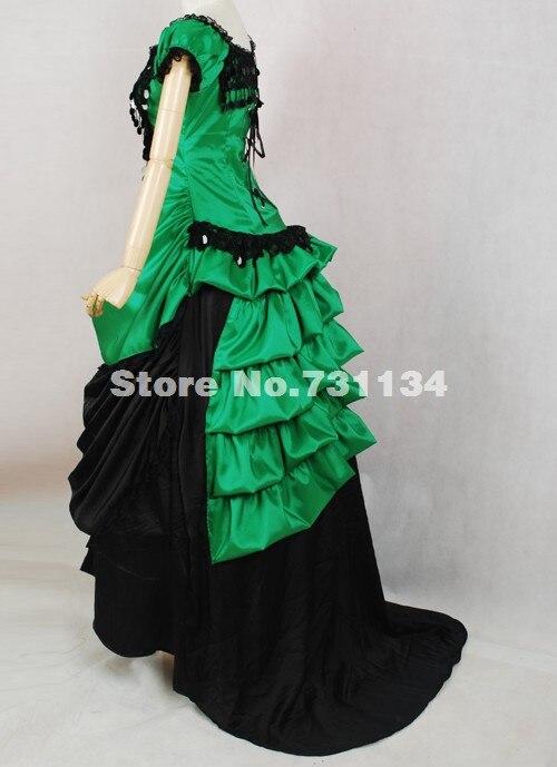 Pour Vert Robes Victorienne Et Chaude Coton Custom Vente Agitation Partie Courtes De Manches Noble Bustle Bal Robe Noir Made La kZiXuOPT