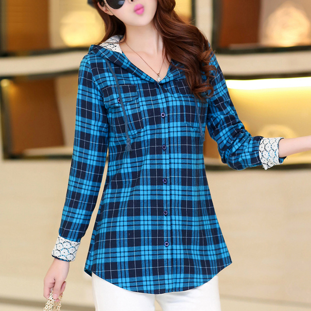 Hot new plaid shirt women slim fit hooded check plaid for Red and green checked shirt