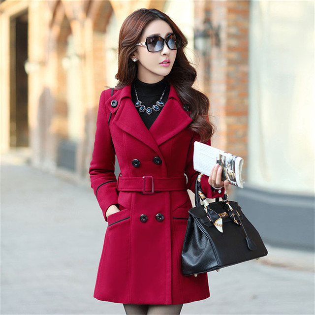 2d5be183258 Plus Size 2016 New Fall And Winter Clothes Woman Long Design Wool Coat  Female Fashion Slim Thin Long Blends Trench Overcoat XXXL