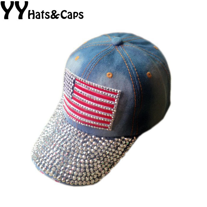 Diamond Snapback Women Basketball Hat Cotton Cap American Flag Style  Fashion Sports Hat Rhinestones Snap Back caps YY0885-in Baseball Caps from  Apparel ... a2d529c68b0