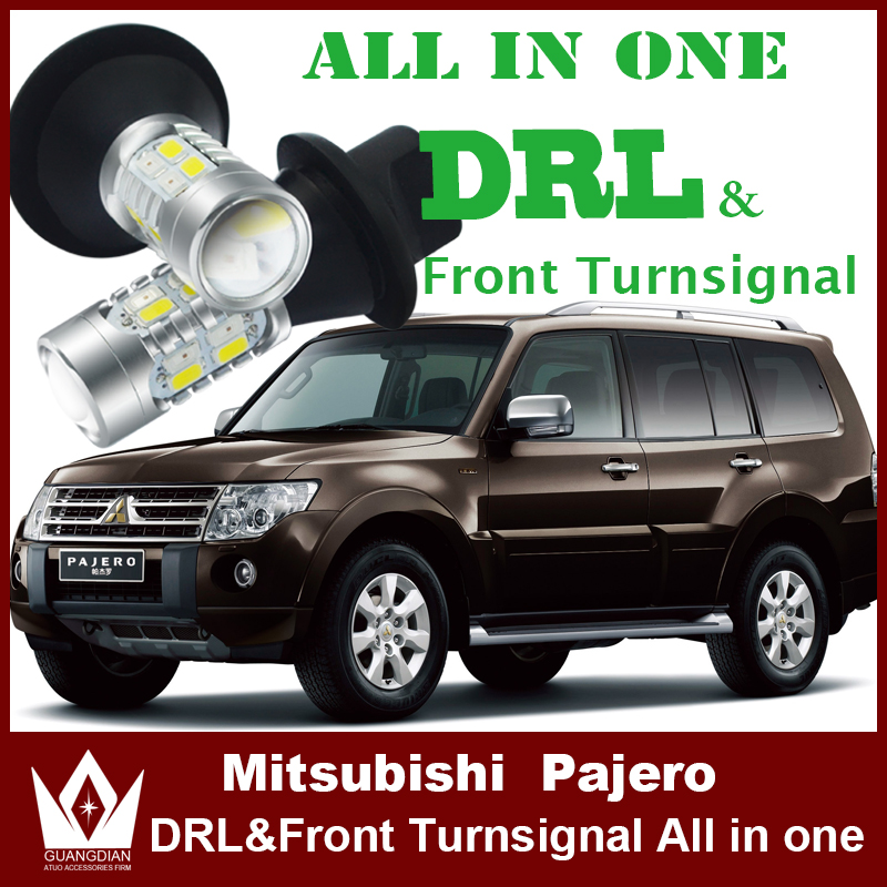 Tcart led DRL Daytime Running Lights& Turn Signals light All In One For Mitsubishi pajero sport accessories DRL turn light