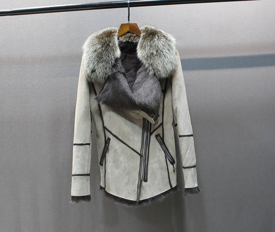 100% genuine sheepskin leather with fur coat slim with fox fur collar (4)
