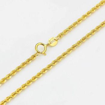 Аутентичные 16 дюймов 18 дюймов 18K желтое золото ожерелье 2 мм звено веревки штамп для цепочек: Au750