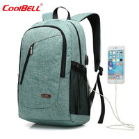 COOLBELL 15 17 Inch Laptop Backpack Nylon School Rucksack Large Capacity Travel Bag Waterproof Unisex For