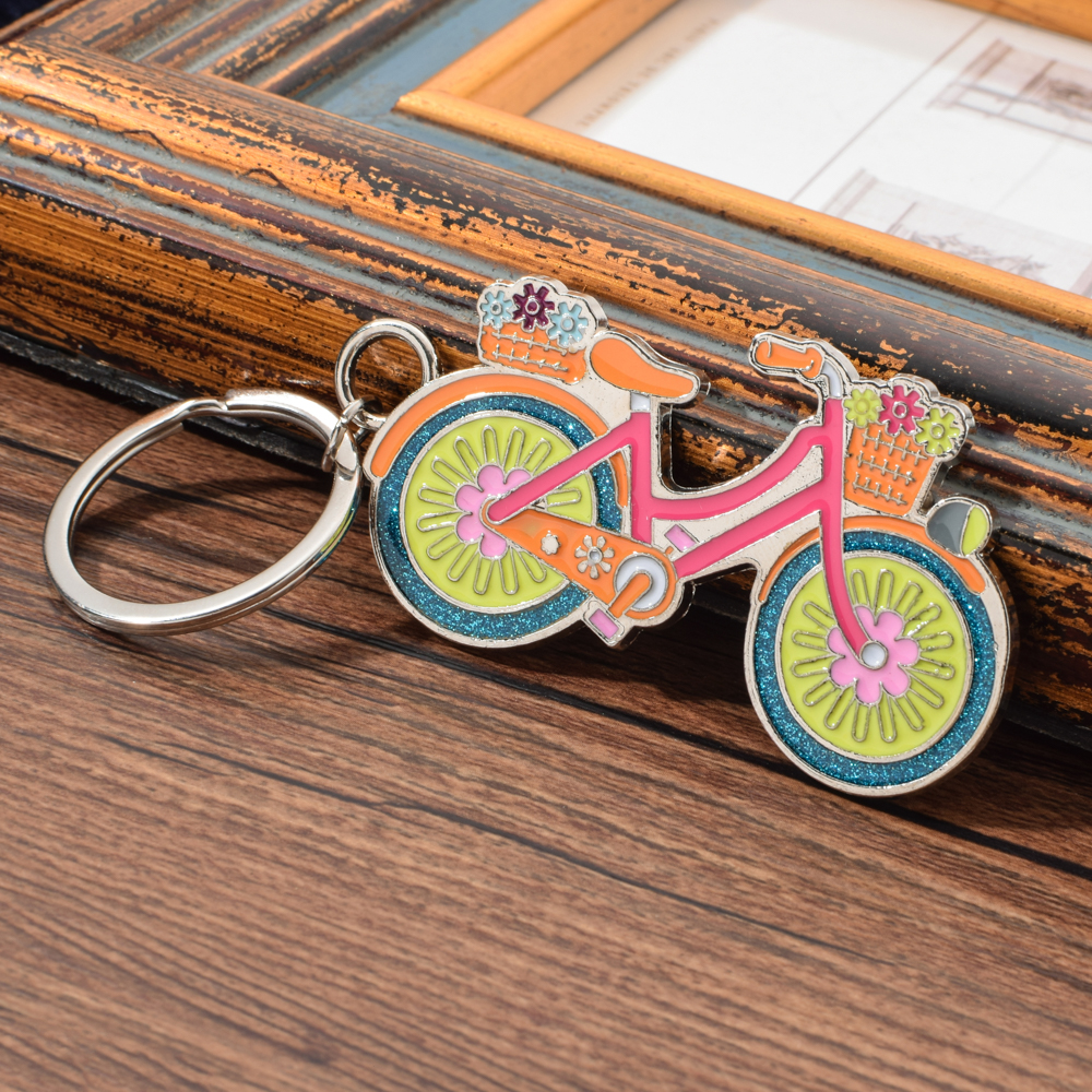 Vicney Cute Bicycle Keychain Colorful Bike Keyring For Women Bag Charm Bling Key Chain Fashion Jewelry 3D Key Gift For Friend