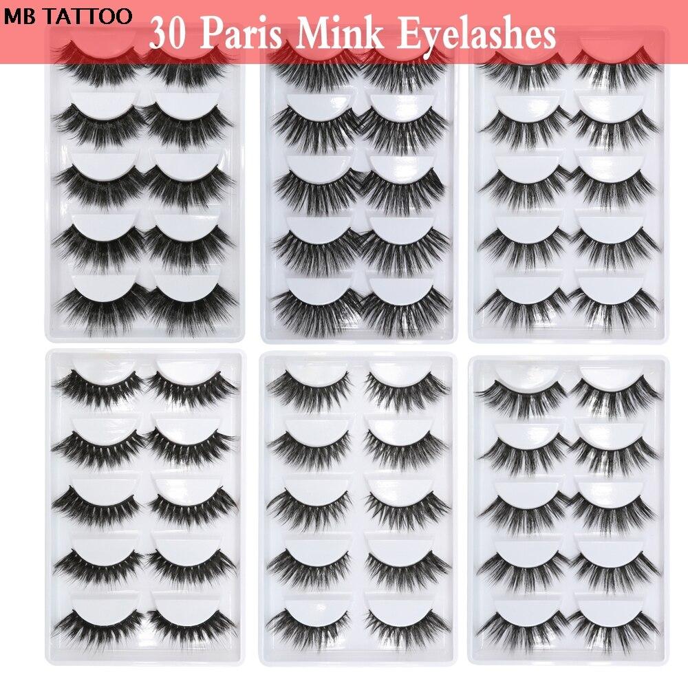 30 Paris/lot Mink Eyelashes 3D Lashes Handmade Eye lashes Soft Volume Cruelty Free False Fluffy Upper