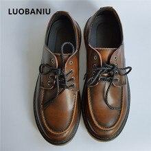 Новая мода Мужская обувь Оксфорд Удобная черная обувь Человек натуральная кожа плоские бизнес в британском ретро стиле на шнуровке мужская обувь