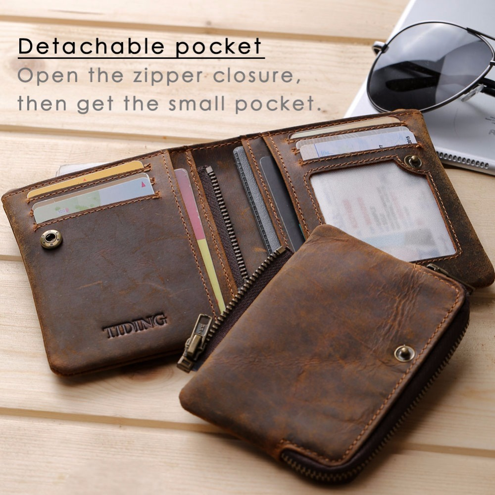 TIDING top grain cowhide leather zipper wallets purse with coin card slots short bifold money pouch simple and sleek style 41273 simline fashion genuine leather real cowhide women lady short slim wallet wallets purse card holder zipper coin pocket ladies