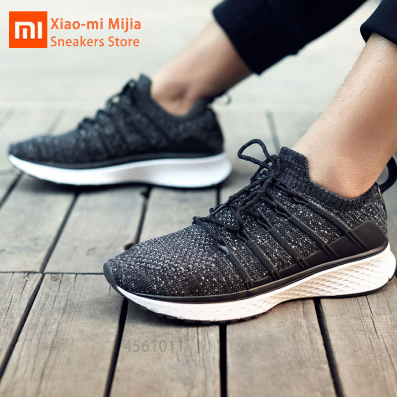 Original Xiaomi Mijia Men Smart Running Shoes 2 Outdoor Sport Mi Sneakers Breathable Air Mesh Elastic Knitting Vamp Tennis Shoes