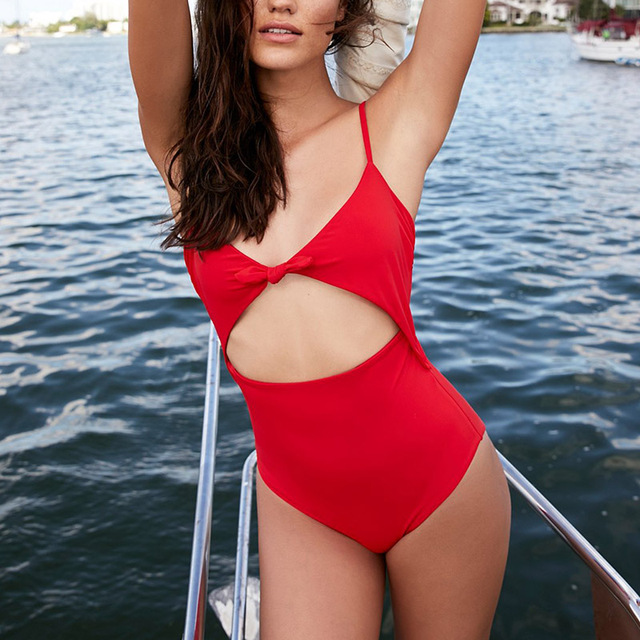 f80d8ff896952 New One Piece Swimsuit Women Swimwear Sexy Cut Out Monokini High Waist  Bikinis Red Bathing Suits Bow Bodysuits Female Beachwear