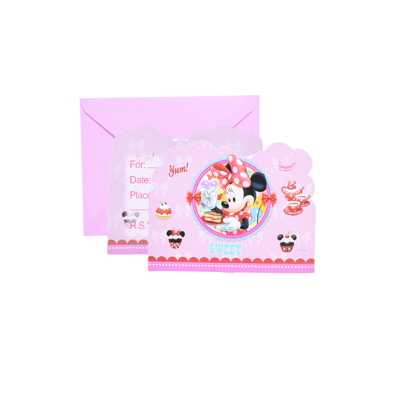 6pcs/lot Invitation Card Minnie Mouse Kids Birthday party supply event party supplies party Decoration Set