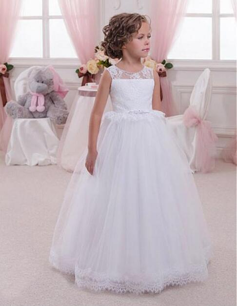 White Ball Gown Jewel Neckline Fluffy Flower Girl Dresses With Lace Appliques Open Back Girls Communion Gown Size 2-16Y plunging neckline open back mini lace dress