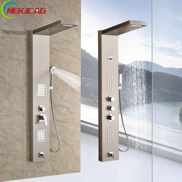 Bathroom Shower Faucet Thermostatic Valve Rain Waterfall Body ...