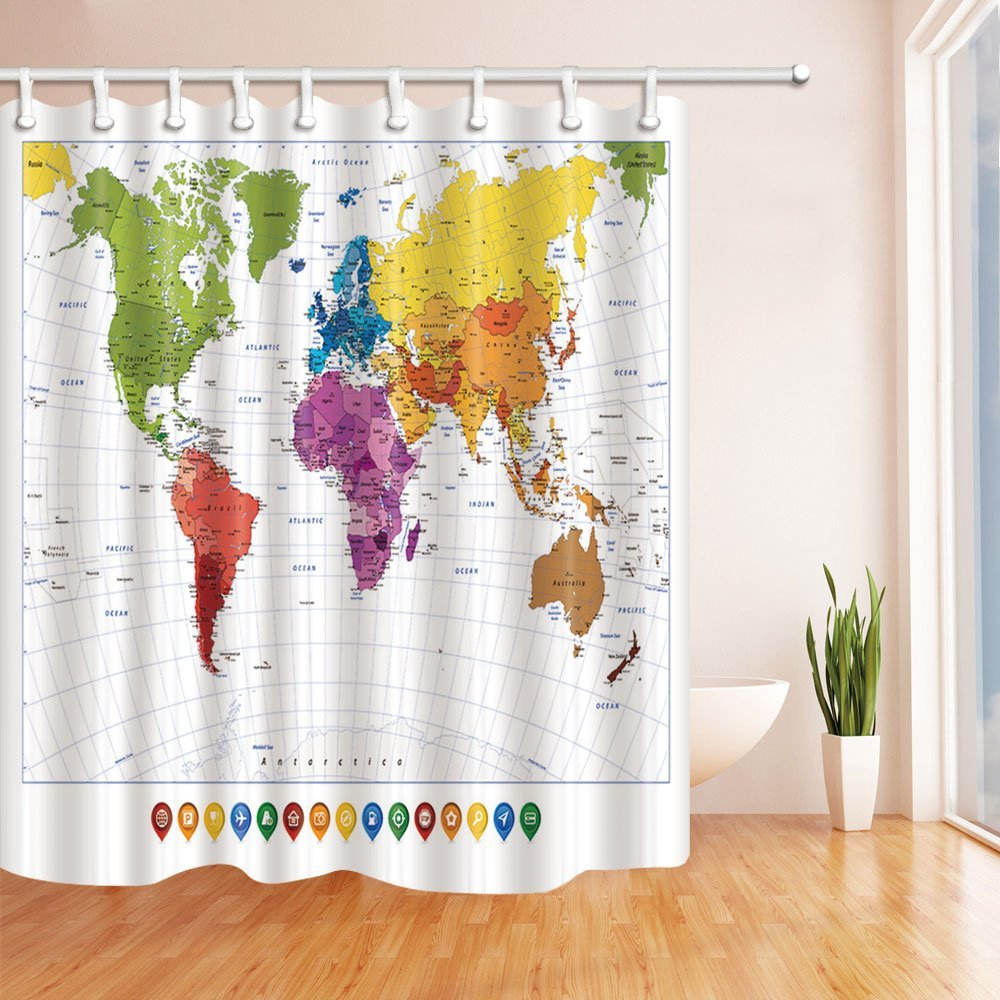US $16.01 40% OFF|Splashing World Map Spot and Colorful Map with Name  Shower Curtain Waterproof Polyester Fabric Bath Curtains Green Orange-in  Shower ...