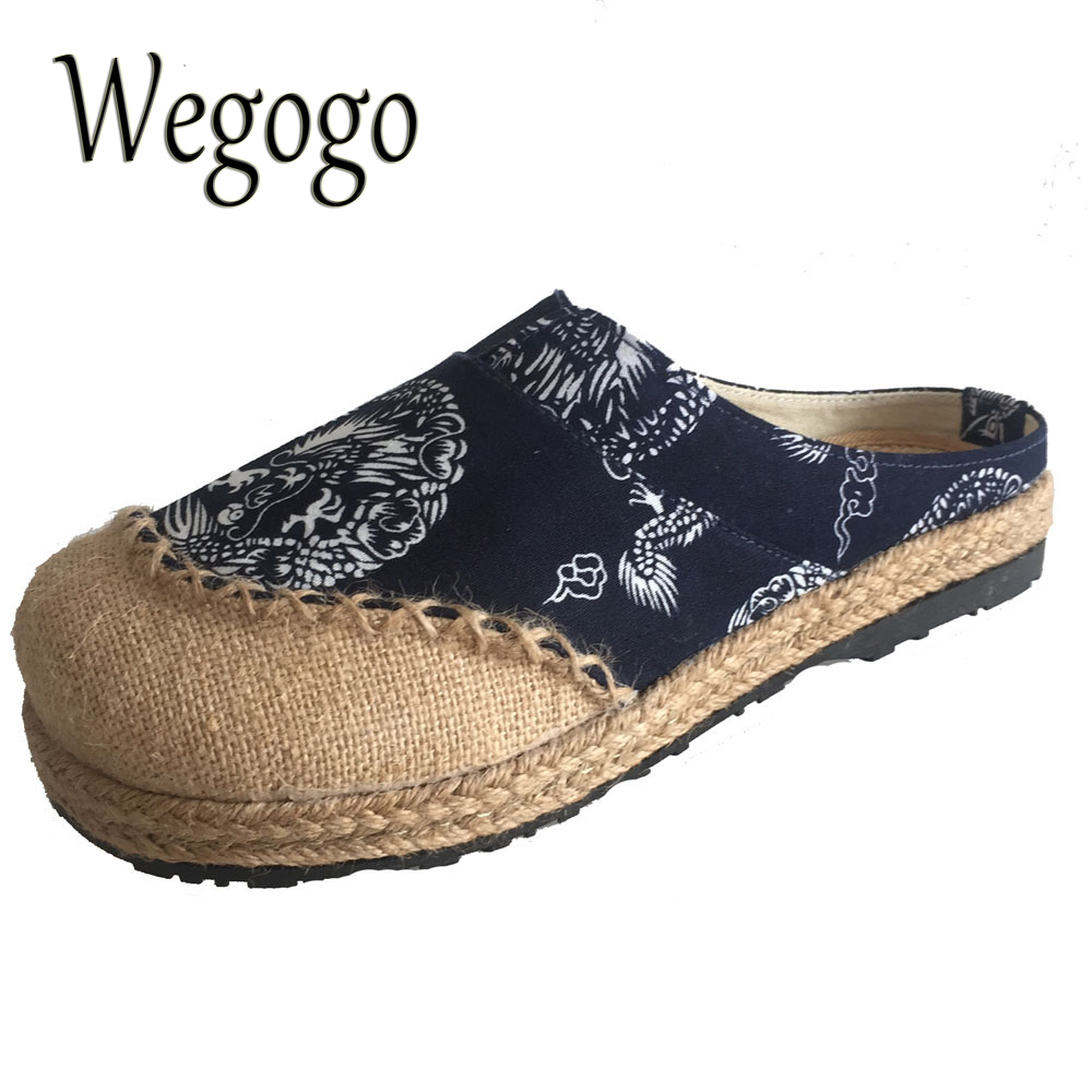 Wegogo Mujeres Zapatillas zapatos Viejos Beijing Zapatos De Lona De Tela de Lino