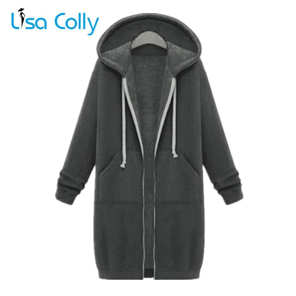 Lisa Colly Plus Size 5XL Women Autumn Fleece   Jacket   Long Sleeves Zip Warm Coat Overcoat With Hooded Women Winter   Basic     Jacket