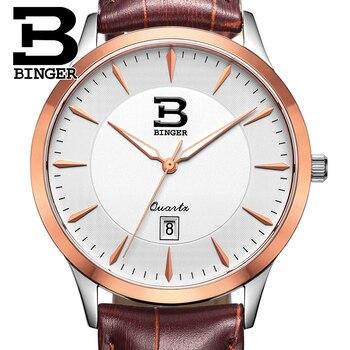 Switzerland watches men luxury brand BINGER business quartz full stainless steel Water Resistance Wristwatches B3005M-7