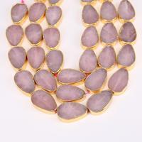 20x30mm 11pcs Strand Rose Quartz Plated Gold Edge Drilled Flat Teardrop Beads Natural Stones Raw Crystals