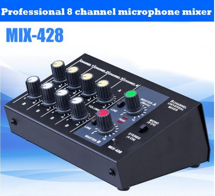 Free shipping Professional 8 Channel mini mixer audio For Stage Home Karaoke Mobile phone computer reverb mixer mixing console