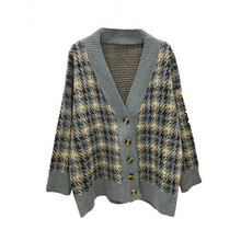 Plaid cardigan loose knitted jacket SF