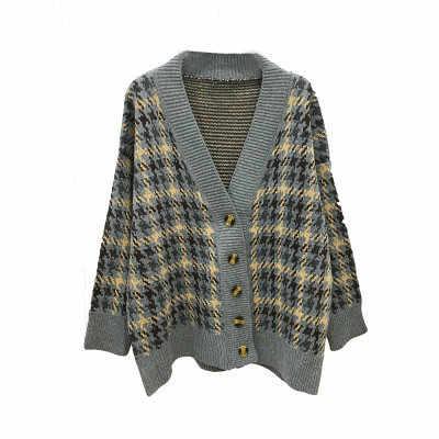Nieuwe herfst Plaid vest, vrouwen middellange en lange losse en lui stijl gebreide jas, koreaanse versie gebreide trui