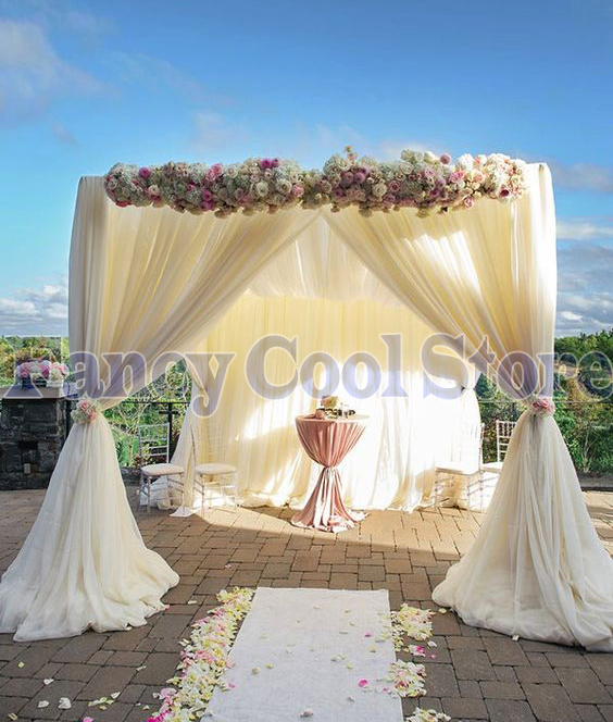 Wedding With White Tent: White Wedding Pavilion Curtain & Pipe With Valance Tent
