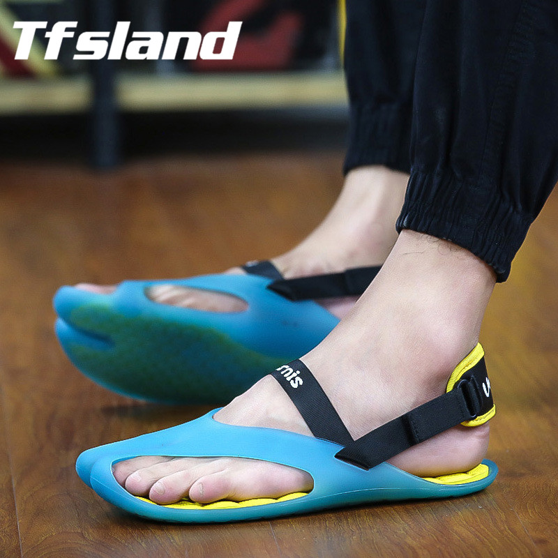 Tfsland Men Jelly Sandals Flat Heel font b Slippers b font Breathable Hole Non slip Shoes