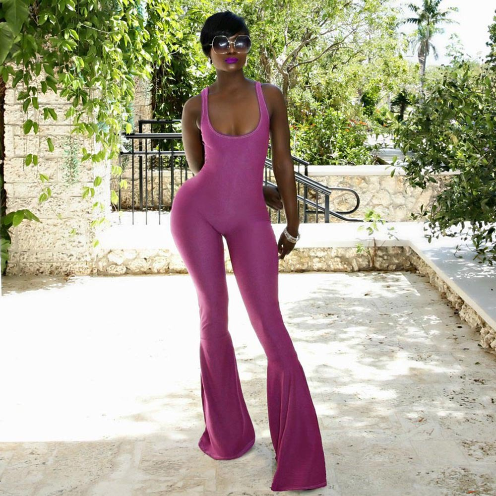 2018 Elegant Purple Summer Knitted Long Flare Pants Jumpsuits Sexy Backless Sleeveless New Women Playsuits Chic U Neck Overalls