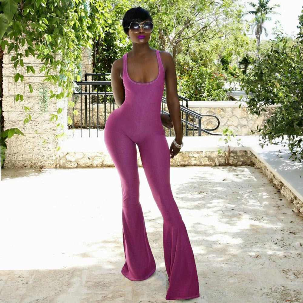 8f09e2a29e2 Detail Feedback Questions about 2018 Elegant Purple Summer Knitted Long  Flare Pants Jumpsuits Sexy Backless Sleeveless New Women Playsuits Chic U  Neck ...