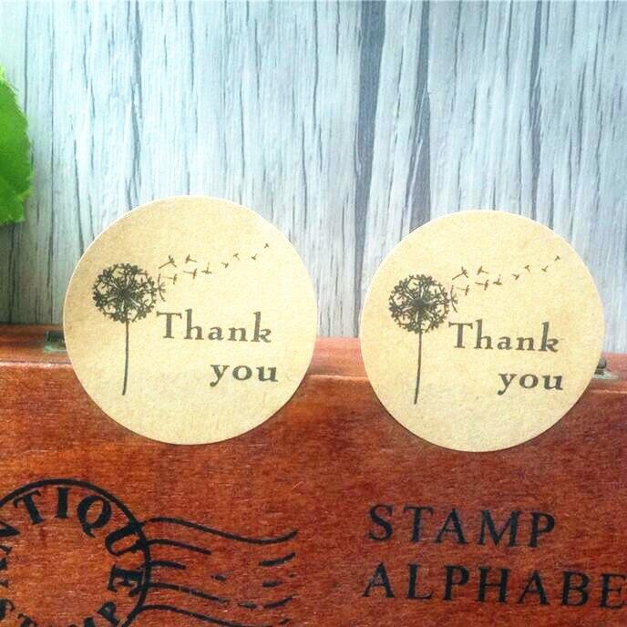 100 шт. спасибо Самоклеящиеся с деревья крафт выпечки уплотнения Стикеры s подарок Стикеры Label Круглый Этикетки для DIY Бумага сумка