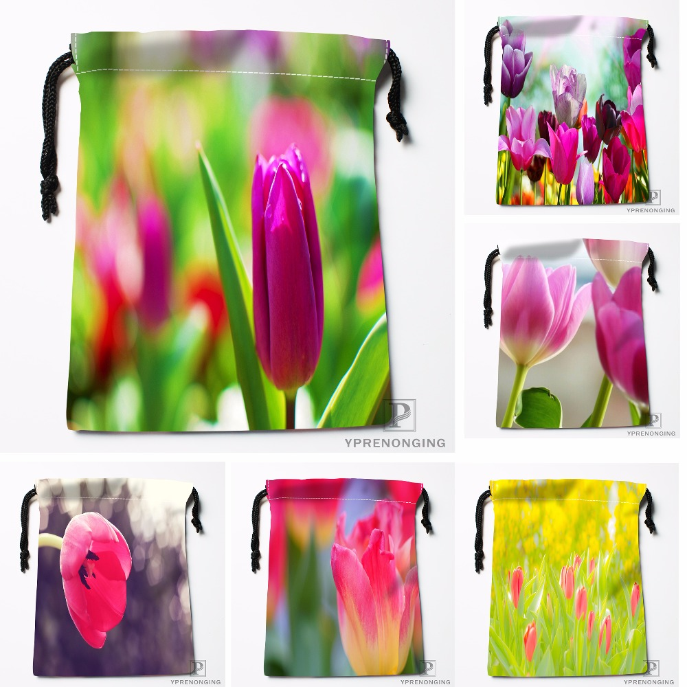 Custom Pink And Purple Tulips Drawstring Bags Travel Storage Mini Pouch Swim Hiking Toy Bag Size 18x22cm#0412-04-231