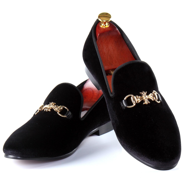 Harpelunde Men Flats Buckle Strap Dress Shoes Black Velvet Loafers Free Shipping Size 7-14