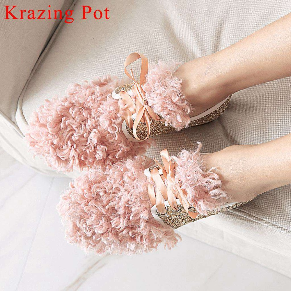 Art design sweet girls sequined studded fashion fur decoration low heels lace up shallow pumps british preppy style shoes L6f1