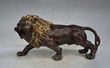 christmas chinese fengshui bronze gilt animal roar lion king beast statue art Sculpture halloween