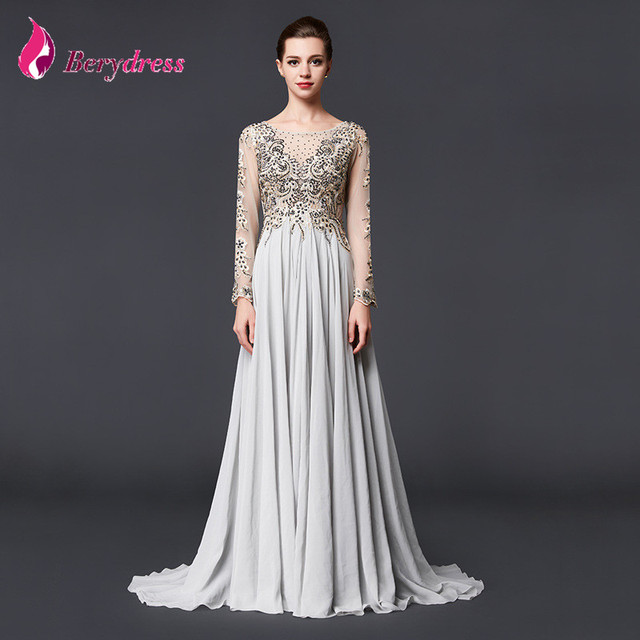 e6716e94001 2017 Elegant Plus Size Mother of the Bride Dresses O neck Full Sleeve  Appliques Chiffon Crystal A line Evening Dresses