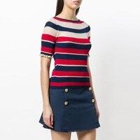 2018 New Runway Summer Knit Summer Top Ruffles Cute Tshirt Black Red White Striped Elegant T shirt for Women Casual Female Tee