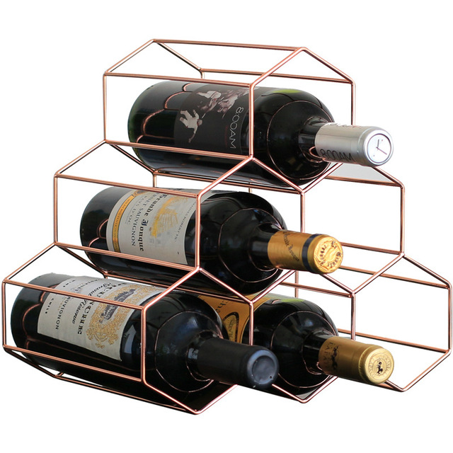 Wine Rack In Living Room Victorian Style Nordic Creative Geometric Metal Simple Household Grape Restaurant Bar Cabinet Display Rose Gold