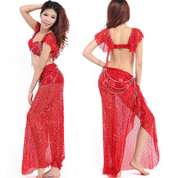Belly Dance Costume (Bellydance Bra+Shiny Skirts) Bollywood Dance Costumes 8colors Dance Wear Party Dress Tribal
