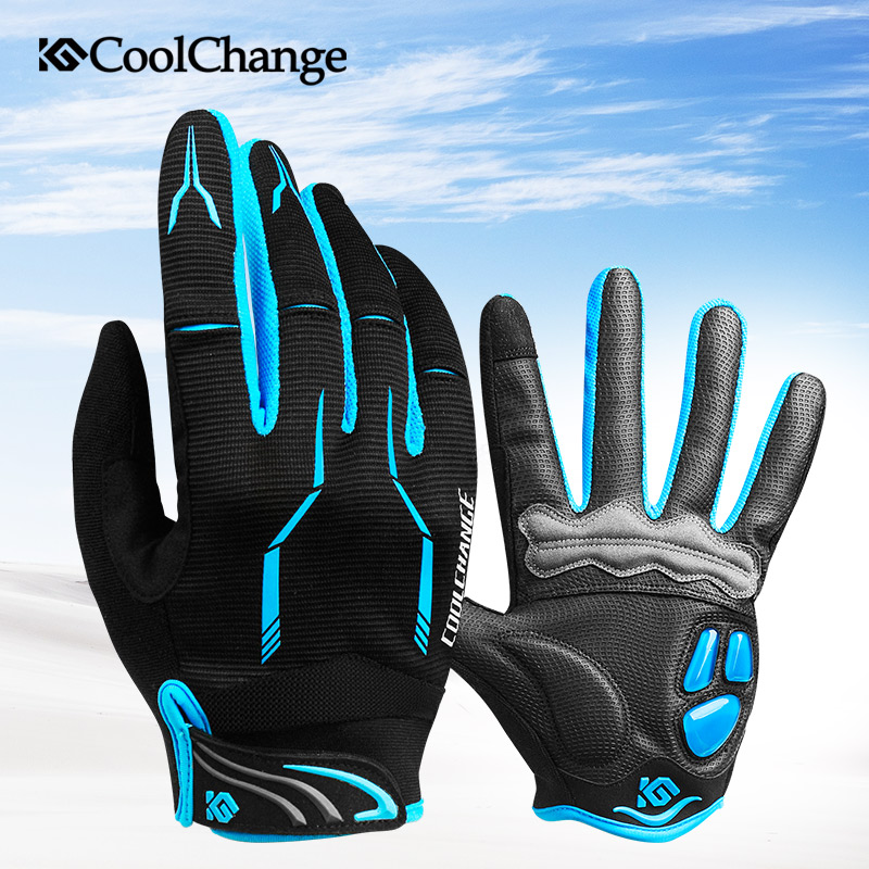 CoolChange Touch Screen Men's Cycling Gloves GEL Pad Full Finger Bike Bicycle Gloves MTB BMX Road Mountain Bike Bicycle Glove batfox women cycling gloves female fitness sport gloves half finger mtb bike glove road bike bicycle gloves bicycle accessories